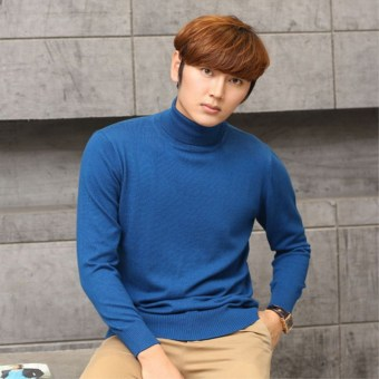 Winter thickened Plus-sized Men cardigan turtleneck cashmere sweater Sea blue Sea blue