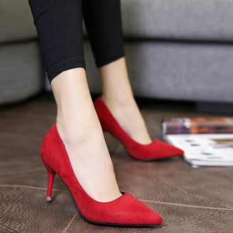Autumn and Winter thin heeled pointed wedding shoes high-heeled shoes (Red [with high 7.8])
