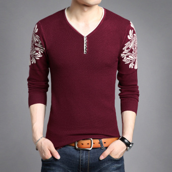 Autumn New style v-neck men's T-shirt (0101 wine red)