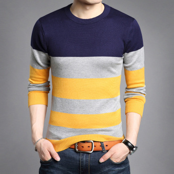 Autumn New style v-neck men's T-shirt (8328 dark blue)