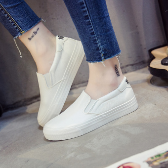 Autumn New style women's shoes leather canvas shoes (White)