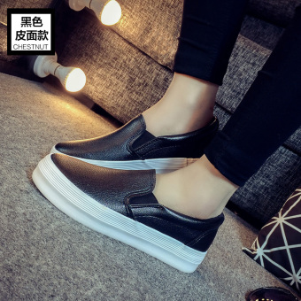 Autumn New style women's shoes white canvas shoes (Black-leather Models)