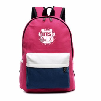 Backpack BTS Canvas School Bag Shoulder Bag Korean Fashion Pink -intl