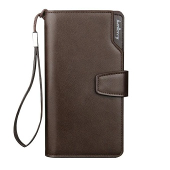 BAELLERRY Long Men's Wallet Leather Hand Bag Credit Card & CoinHolders with Hand Strap-Coffee - intl