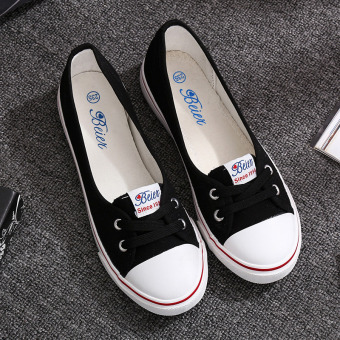 Beier Korean-style female lace with flat shoes white canvas shoes (Black)