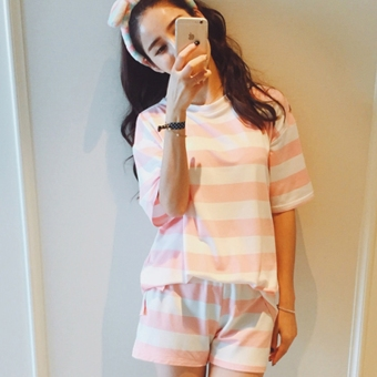 Beishihan Women's Casual Striped Short Sleeve T-Shirt & Shorts - Black - Pink (Pink [Top + pants two-piece sets])