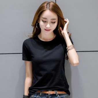 Bi Qi Korean-style female short-sleeved New style slim fit bottoming shirt T-shirt (Black) Price Philippines