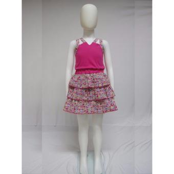Big Joy 51079 Kids Girl's Comfy Cotton dress with floral skirt Fuchsia color