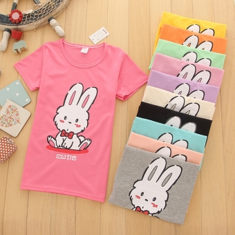 Big kid summer new girls T-shirt (4 pieces with a color, number of the more multi-color the more)