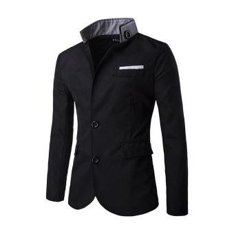 black men jacket Casual FASHION Slim fit Stylish Single Breasted Suit Blazer Mens Coat Male Fashion Stand Neck Formal Clothing - intl