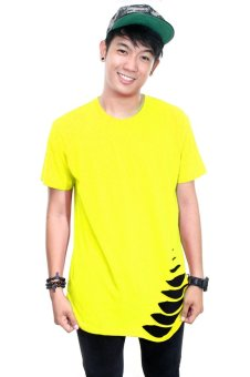 BLKSHP Oversized Softstyle Longline Tee with Distress Hem (yelllow)