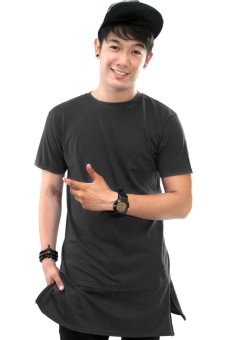 BLKSHP Super Longline Tee with Side Splits Zipper in Solid Colors(Black)