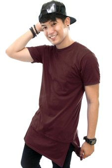 BLKSHP Super Longline Tee with Side Splits Zipper in Solid Colors(Maroon)