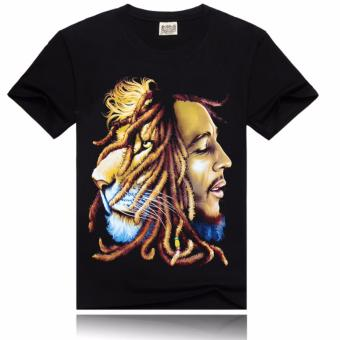 Bob marley tide male T-shirt printing cotton 3 d T-shirt with short sleeves - intl