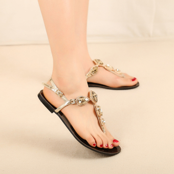 Bohemian crystal female flat sandals (Gold)