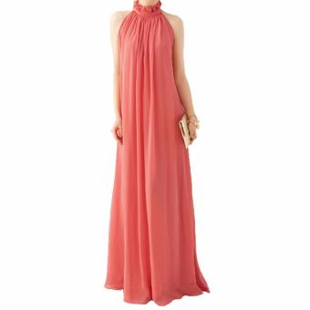 Bohemian Long Dress Women Chiffon Dresses Halter Neck Sleeveless Dress(Watermelon Red) - intl