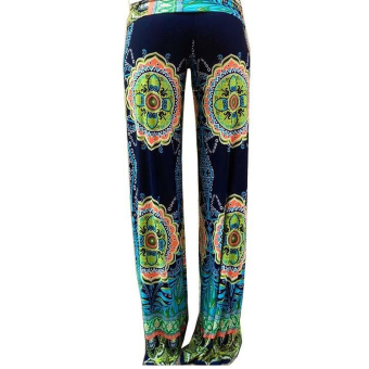 Bohemian Women's Elastic Fold-over Waist Casual Jogger Wide LegPalazzo Pants Trousers Size M Price Philippines