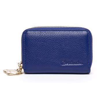 BOSTANTEN Mini Genuine Leather Wallet Bank/Name Card Holder Double Zipper Credit Card Holders Women