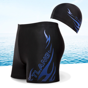 Boxer Plus-sized shorts swimming clothing swimming trunks (Upgrade blue flame (with a swimming cap))