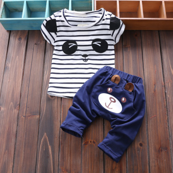 Boy's New Style Bamboo Cotton Short sleeved t-shirt (Summer PANDA short sleeved sets [Green) (Summer PANDA short sleeved sets [Green)