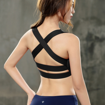 Breathable quick-drying push up back vest I bra (Black bra-WX132)