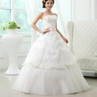 Bride Backless Ball Gown Beaded Sweetheart Beige Wedding Dress -intl Price Philippines