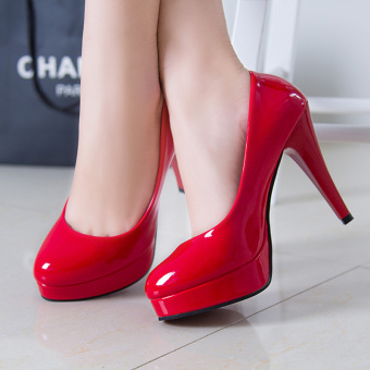 Bright leather red fine with women shoes Shoes (801 red fine)