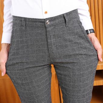 The British cotton linen plaid stretch Pants for men Men casual pants Gray plaid Gray plaid