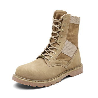 British couple's men and women hight-top shoes combat boots Dr. Martens (Khaki hight-top)