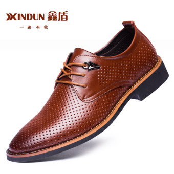 XINDUN Men's British style Business Leather Blucher Shoes Brown punch Brown punch