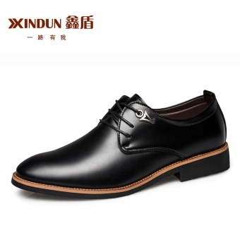 XINDUN Men's British style Business Leather Blucher Shoes Black Black