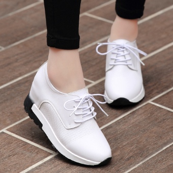 British Leather female thick bottomed shoes autumn shoes (White)
