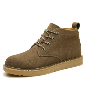 British Leather men in hight-top Desert boots Dr. Martens (Khaki)