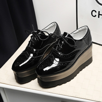 British Leather Spring and Autumn New style platform shoes (Black glossy)