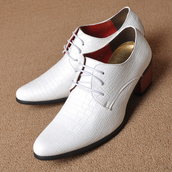 The British Men business shoes pointy-toe leather shoes White White