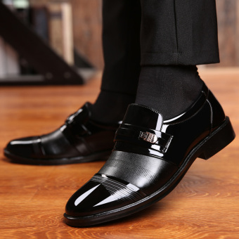The British patent leather black business casual men shoes men's leather shoes Black 2811