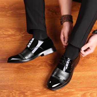 The British patent leather black business casual men shoes men's leather shoes Black 2812 lace