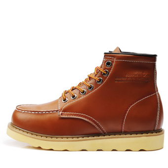 The British Plus velvet hight-top worker boot Martin boots Yellow Brown single layer Yellow Brown single layer