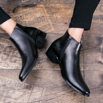 The British Leather pointy-toe hight-top leather shoes men's shoes 6119 foot covering shoes heel elevator 5 cm