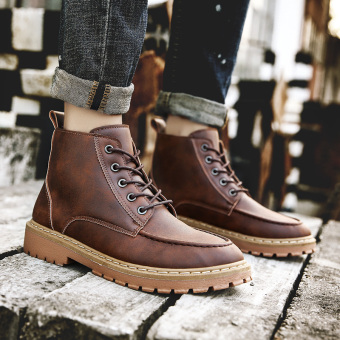The British short workwear leather boot Martin boots Brown Brown