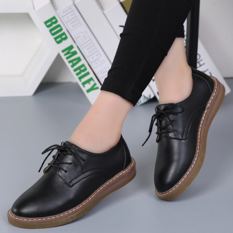 British style leather New style autumn shoes casual women's shoes (Black)