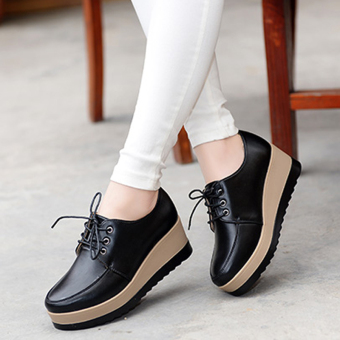 British style New style slope with shoes platform shoes (Black)