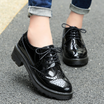 Brogue British style black autumn New style small leather shoes (Patent leather black)
