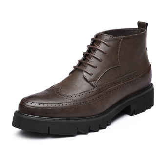 Brogue retro hight-top men boots Dr. Martens (Brown)