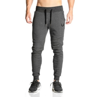 Brother male fitness training skinny sweatpants I pants (Dark gray color)