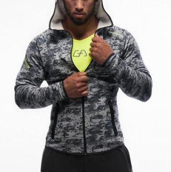 Brother men muscle fitness Top hooded hoodie (Gray camouflage)