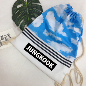 BTS bulletproof celebrity inspired drawstring closure scrunch top bag (Jungkook)
