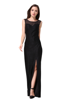 Buenos Ninos Women Sleeveless Floral Lace Split Side Long Evening Gown Dress Black