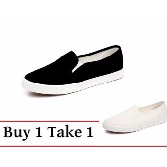 Buy 1 Take 1 Canvas Slip On Loafers for Women - Black White