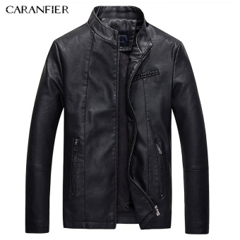 BYL caranfier leather jackets mens Pu casual biker jacket (Black)